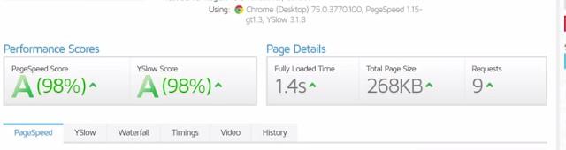 hostinger website speed test using GT metrix