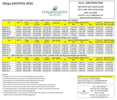 Harga Bukit MAGNOLIA Citra Indah City Agustus 2016