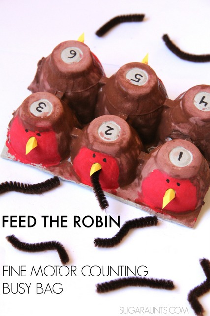 Robin counting fine motor activity busy bag