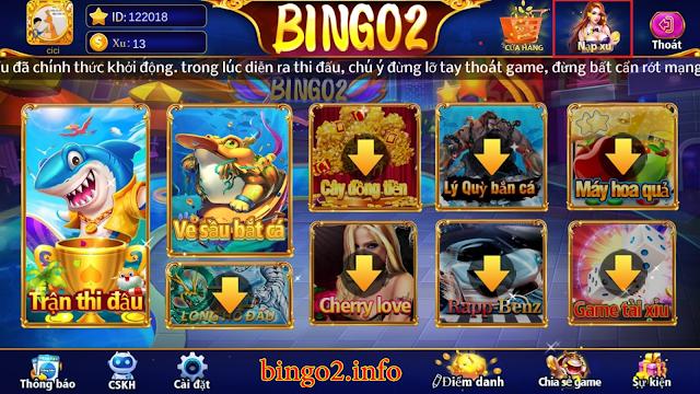 hướng dẫn nạp xu game bingo 2 qua momo bước 1