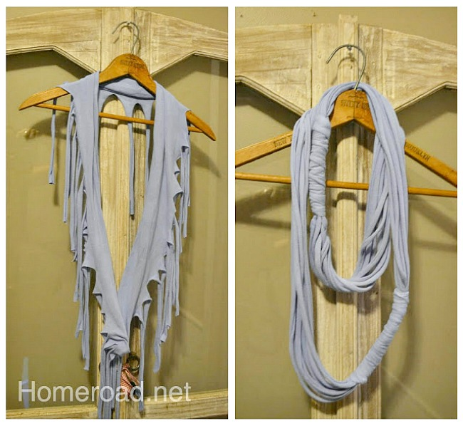 How to make a Dyed Fringed T-Shirt Scarves