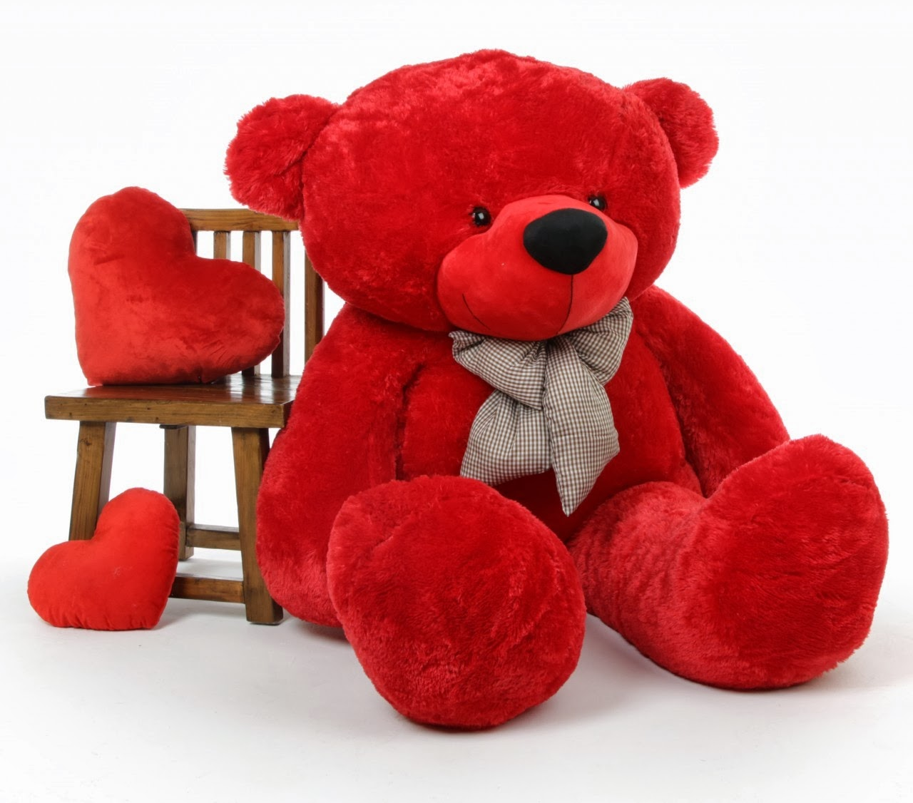 Bitsy Cuddles 65in is a giant red life size teddy bear