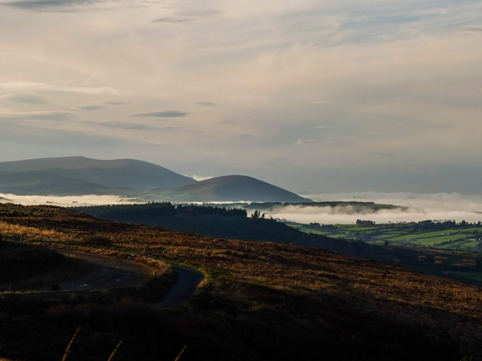 Fog rolling in a valley in North County Cork.