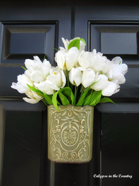White Tulips on Front Door for Spring