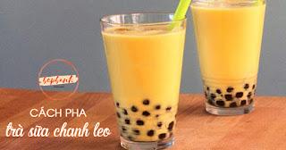 Cách pha trà sữa chanh leo trân châu đen chua ngọt kích thích vị giác 1