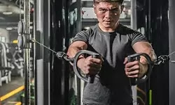 Biceps exercise with a cable machine