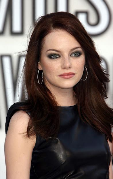 Emma Stone Dark Auburn Hair Color