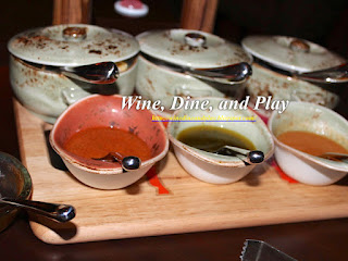 Assorted sauces at the Frevo restaurant in Dubai, UAE
