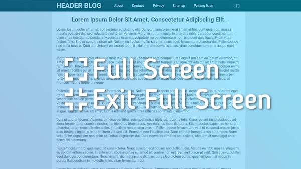 Membuat Fullscreen Halaman Blog Dengan Javascript