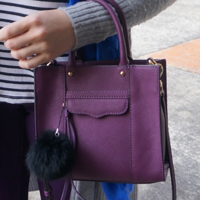 Rebecca Minkoff mini MAB tote in plum with faux fur pom pom charm | away from the blue