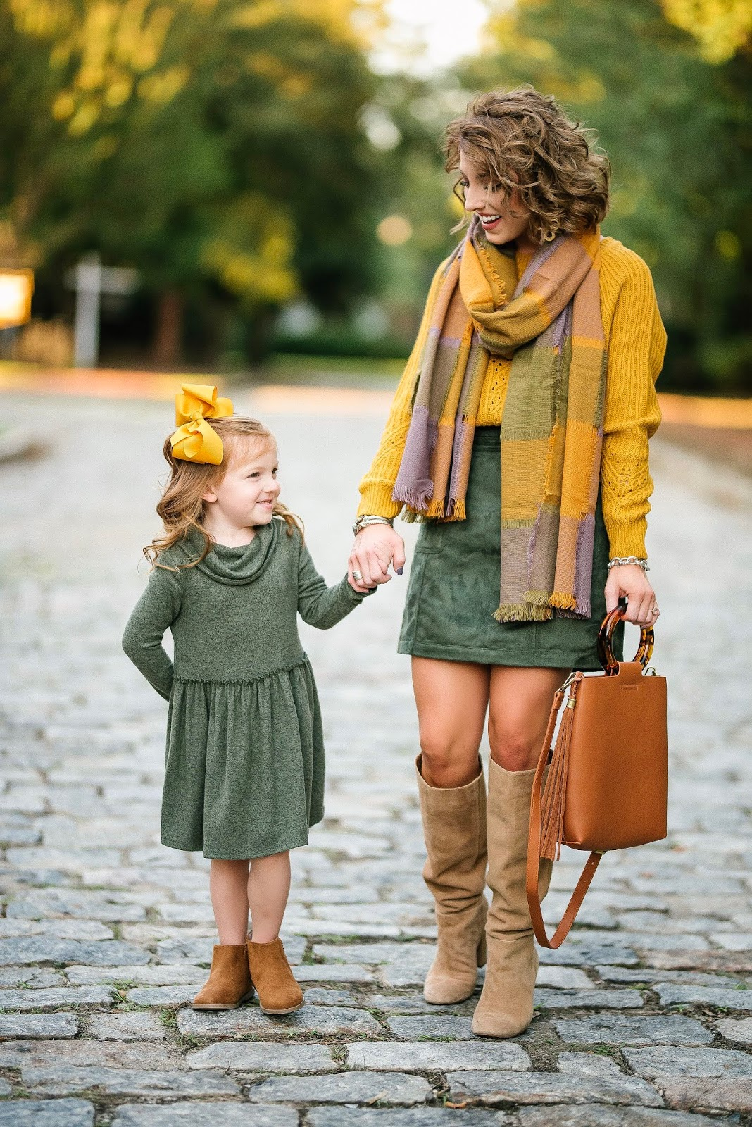 Mommy & Me in Mustard Yellow & Olive Green for Fall - Something Delightful Blog