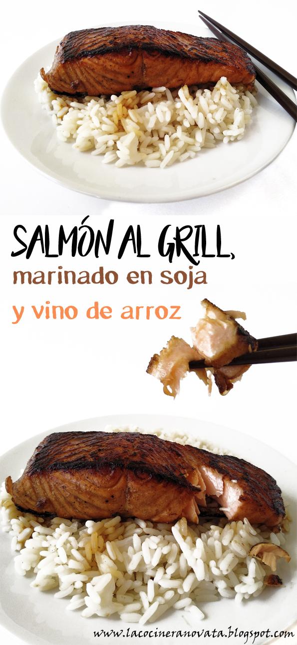 SALMON AL GRILL MARINADO EN SOJA Y VINO DE ARROZ LA COCINERA NOVATA RECETA COCINA BAJO EN CALORIAS PESCADO ASIATICA