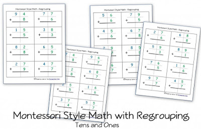 http://homeschoolden.com/2014/06/11/free-montessori-style-addition-pages-with-regrouping-carrying/