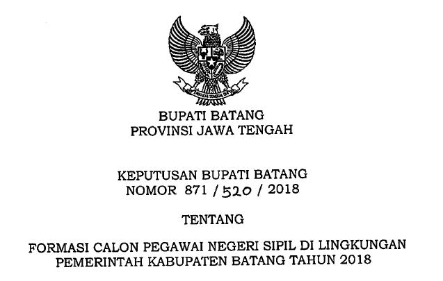 Lowongan Kerja CPNS 2018 Pemerintahan Kabupaten Batang