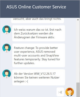 Chat mit dem Asus Support