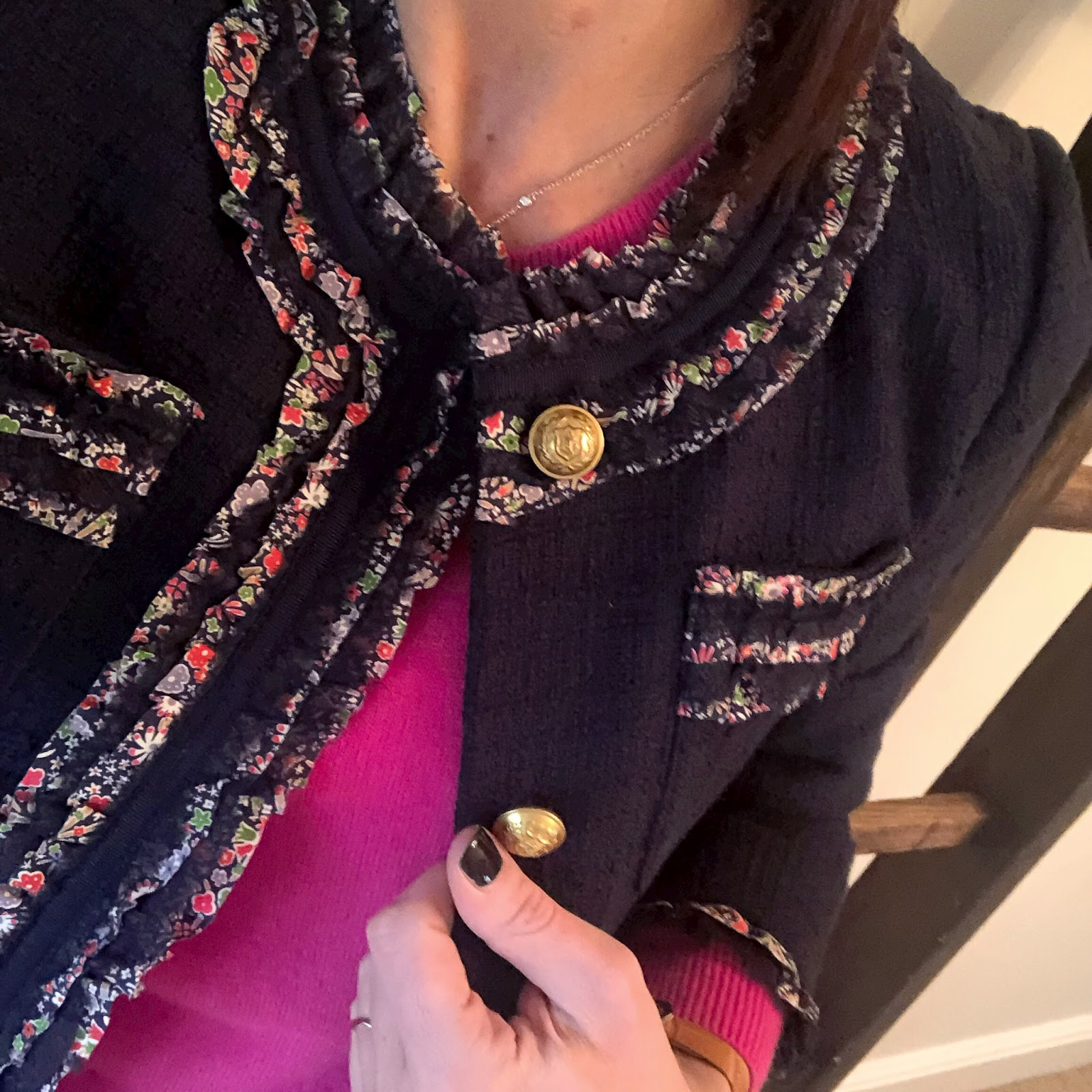 my midlife fashion, j crew ruffle liberty print jacket, marks and spencer pure cashere ribbed crew neck jumper, j crew billie cropped kick flare jeans, j crew pointed mary jane velvet flats