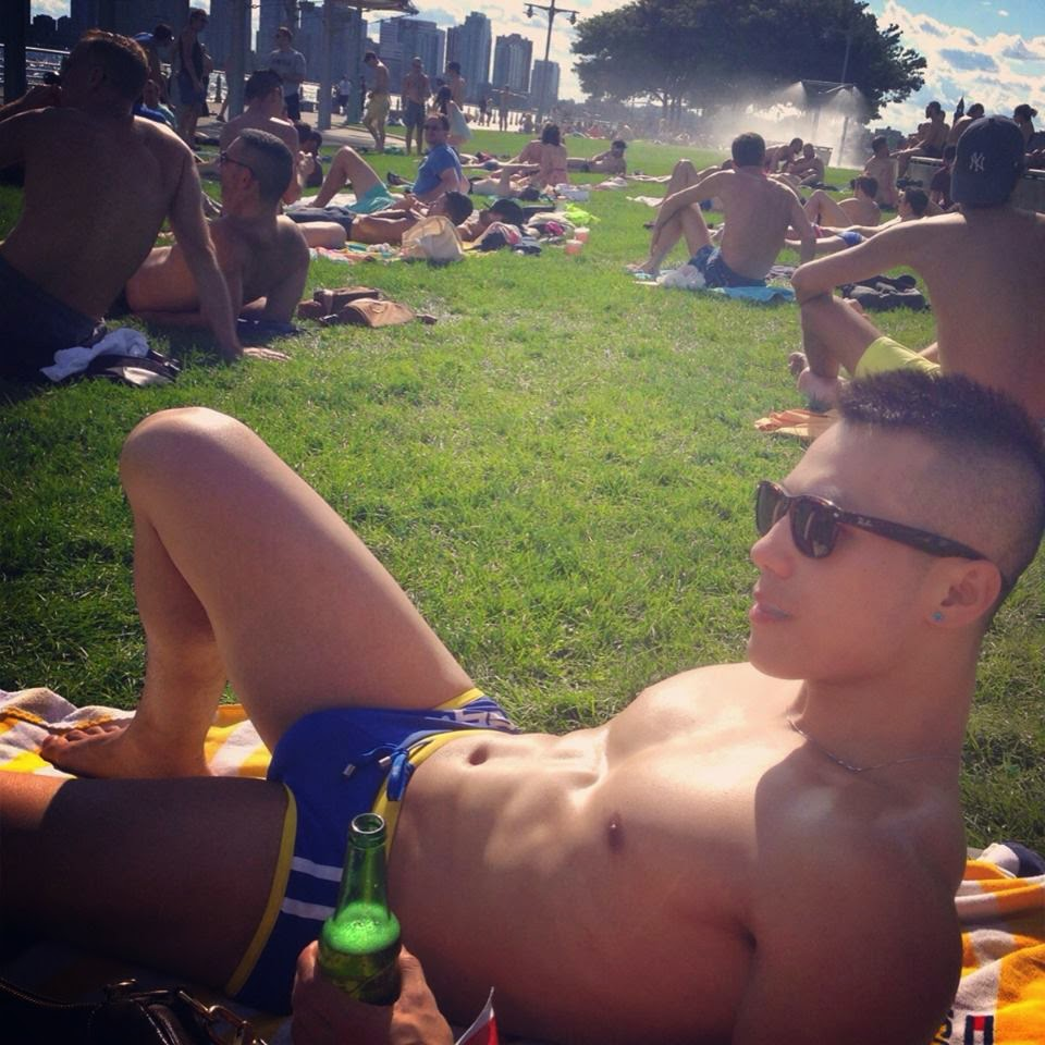 Gay sunbathing