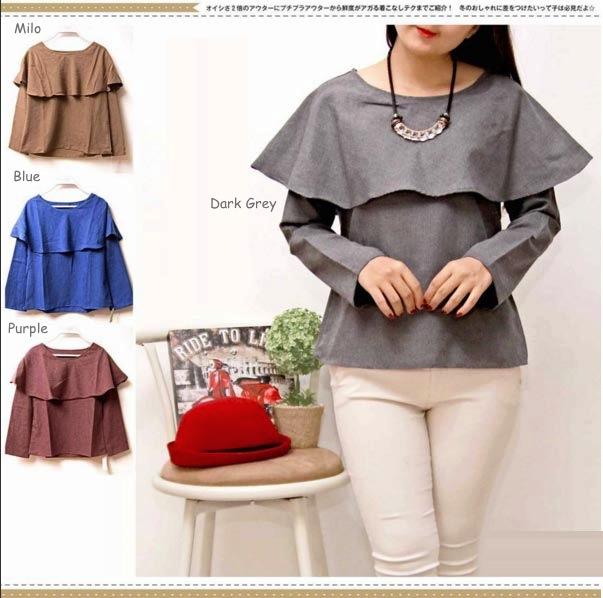 Jual Baju Lengan Panjang Allie Plain Long Sleeves - 13151