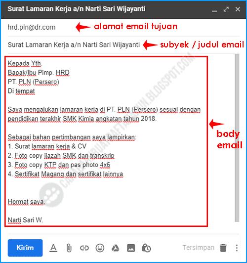 contoh badan email melamar pekerjaan di laptop