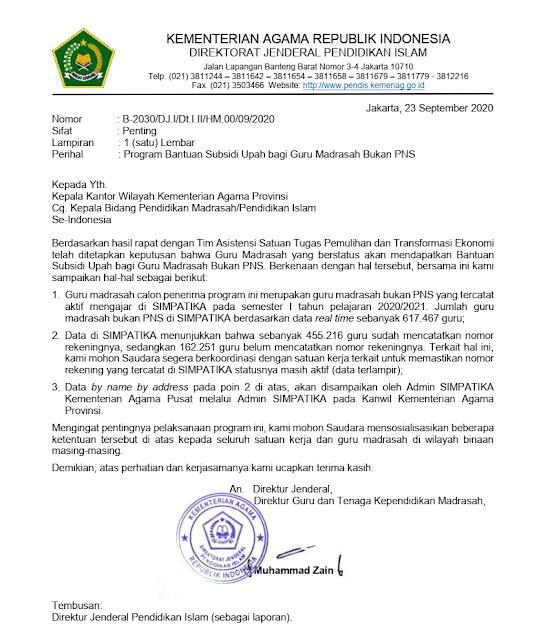 Surat Edaran Program Bantuan Subsidi Upah Gaji Guru Madrasah Bukan PNS PDF tomatalikuang.com