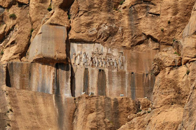 Behistun inscriptions in the heart of a mountain. Kermanshah-Iran