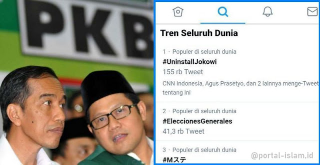 Wow! Tagar #UninstallJokowi Trending Topic No.1 di Dunia!