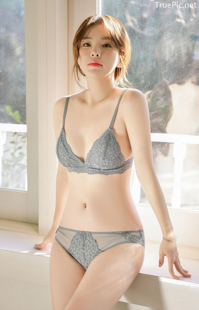 Korean model and fashion - Lingerie queen Haneul - Gray blue Lingerie set - Picture 3