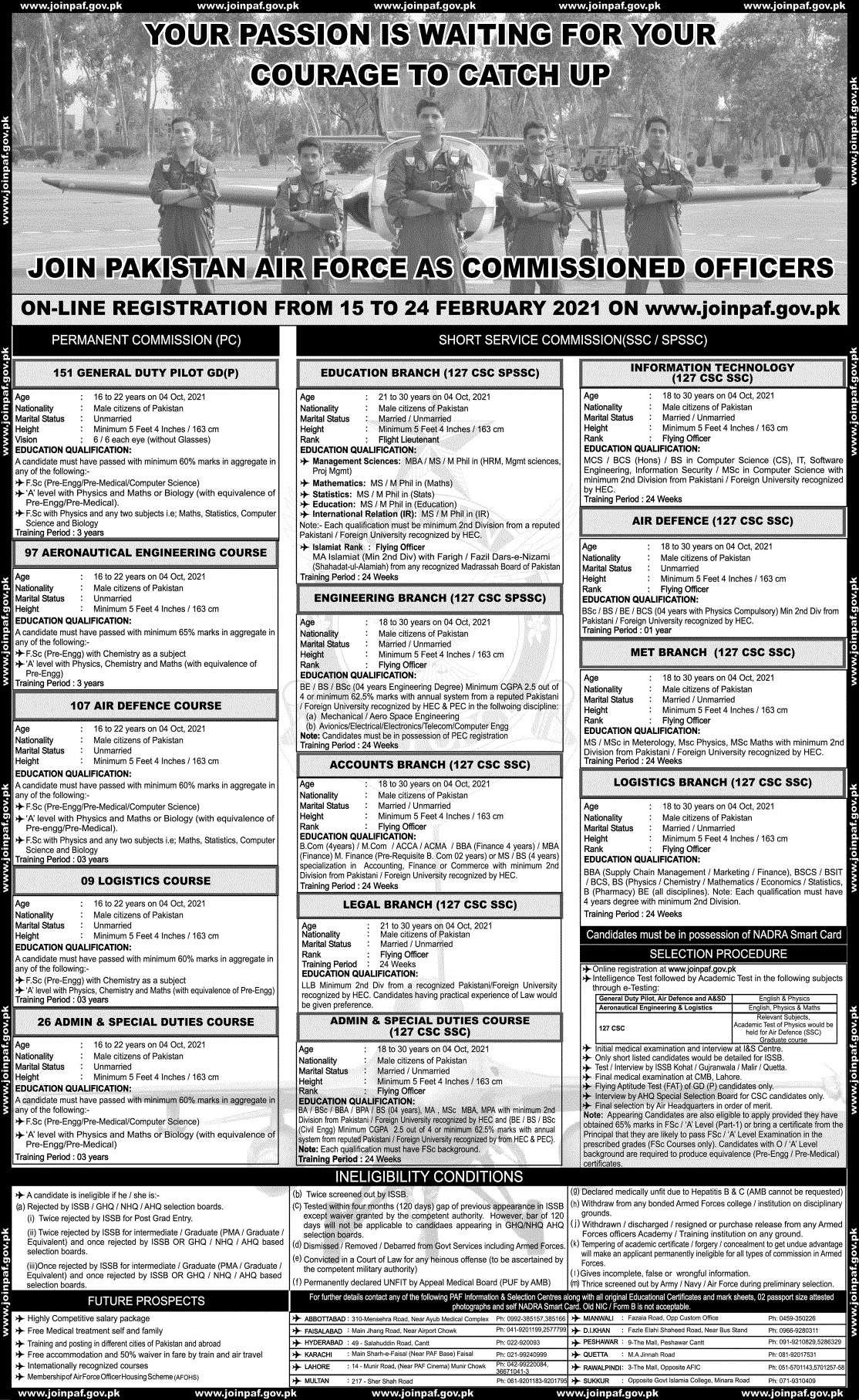 Join Pakistan Air Force PAF As Permanent Commissioned Officers and Short Service Commission Jobs 2021 | Online Apply