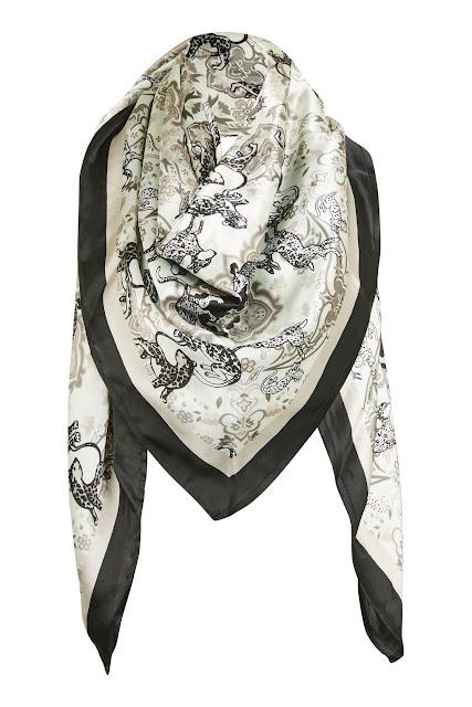 tiger silk scarf, topshop silk scarf,