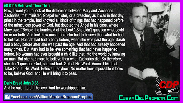 Mary had to believe something that had never happened before - William Branham