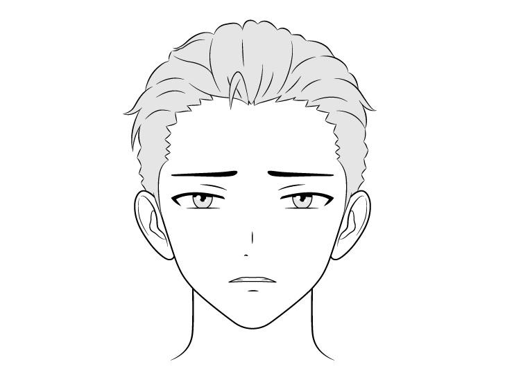 Anime pria kaya menggambar wajah jijik