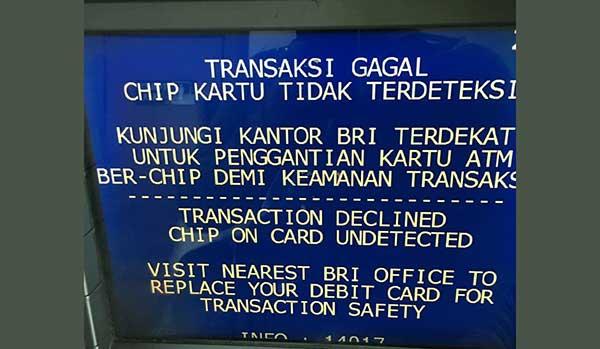 Gagal Transaksi di ATM BRI Chip Kartu Tidak Terdeteksi