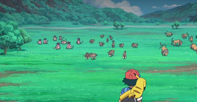Vemos varios  pokemons similares a vacas, toros y caballos en una granja, primer plano de espaldas de Ash y Pikachu