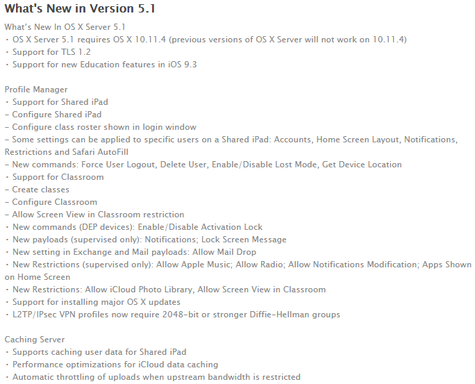 OS X Server 5.1 Features and Changelog