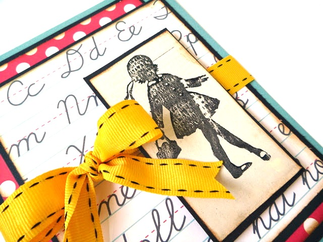 How to Stamp With Paint onto Book Pages School Girl Card by Dana Tatar