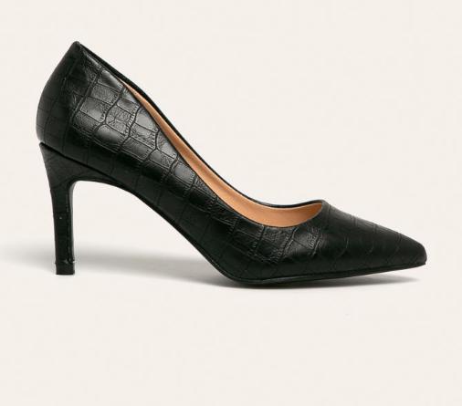 Pantofi cu toc negri de zi cu model piele de reptila ieftini