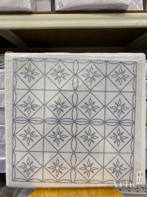 Hotfix stickers dmc rhinestone aplikasi tudung bawal fabrik pakaian rekaan geometrik kotak & bunga blue on blue