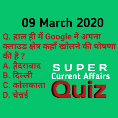 Current Affairs Quiz in Hindi - 9 March 2020