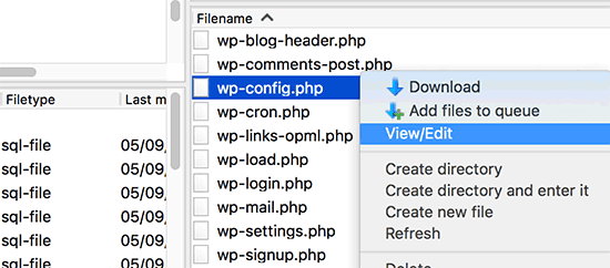 Editing the wp-config.php file via FTP