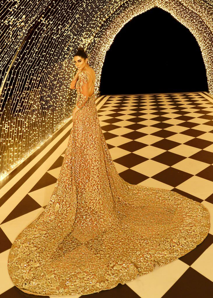 Gold and peach Pakistani bridal gown Victoria by Sara Rohale Asghar