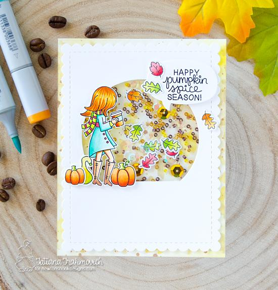 Pumpkin Spice Coffee Card by Tatiana Trafimovich |  Pumpkin Latte Stamp Set and Falling Leaves Stencil by Newton's Nook Designs #newtonsnook #handmade