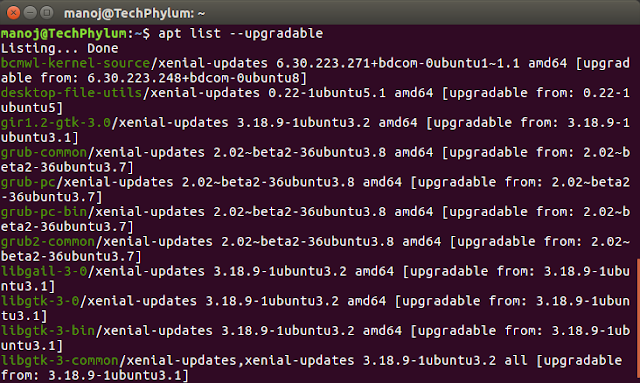 How to check upgradable list of packages on ubuntu