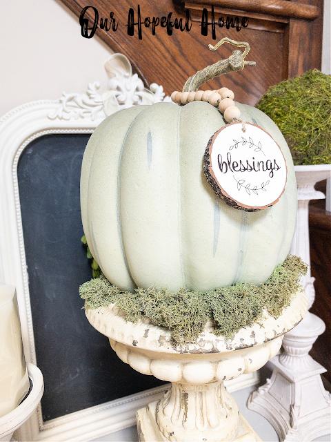 faux pumpkin fall French urn display