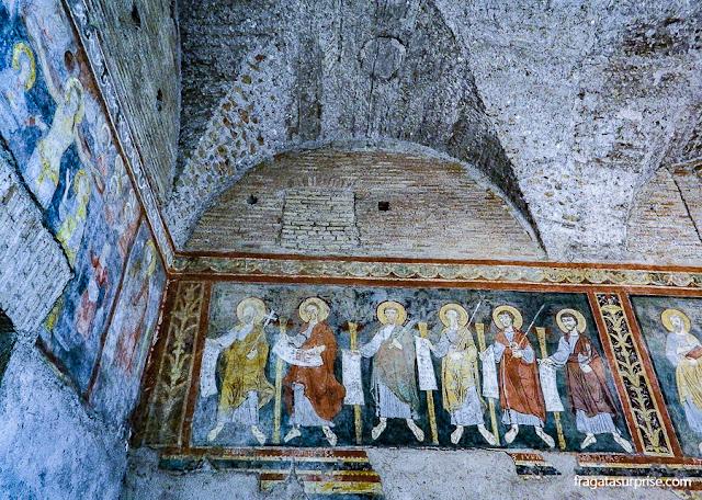 Afrescos na sacristia da Basílica de São Paulo Extramuros, em Roma