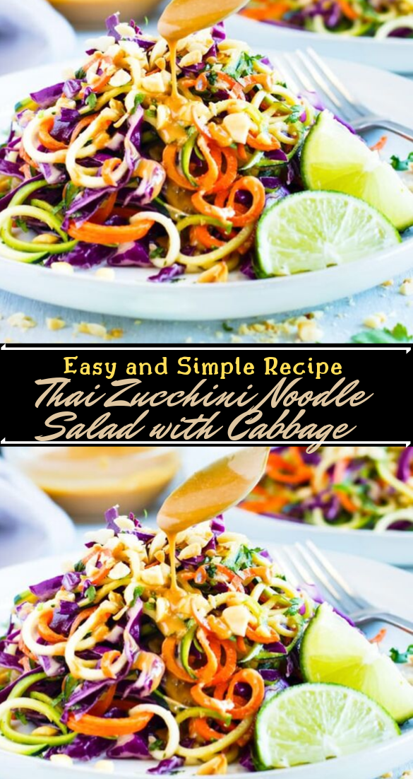 Thai Zucchini Noodle Salad with Cabbage #vegan #vegetarian #soup #breakfast #lunch