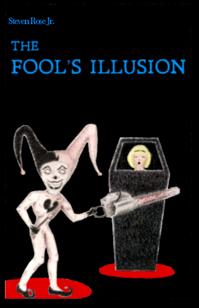 The Fool's Illusion book cover depicting a jester about to saw a woman in half.