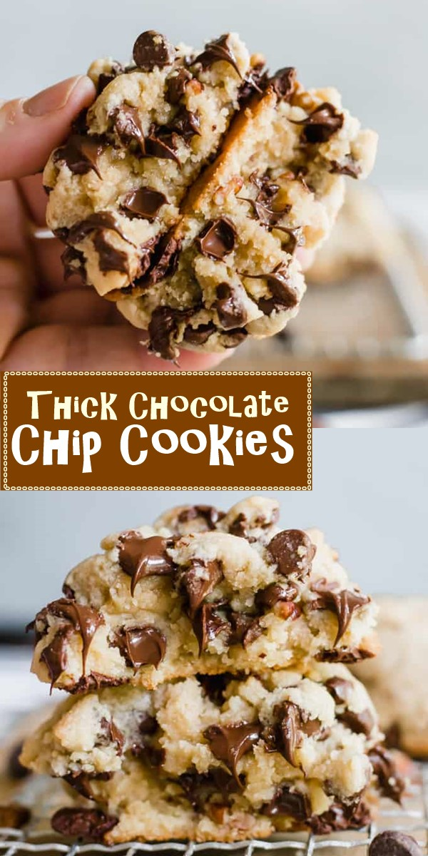 Thick Chocolate Chip Cookies #cookiesrecipes