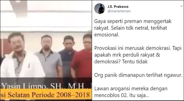 Video Eks Gubernur Sulsel dan 15 Camat Dukung 01, Warganet: Waduh kok Kayak Preman
