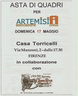 Invitation to Art Auction Fund Raiser for ArtemisiA Battered Women Shelter Florence, Italy