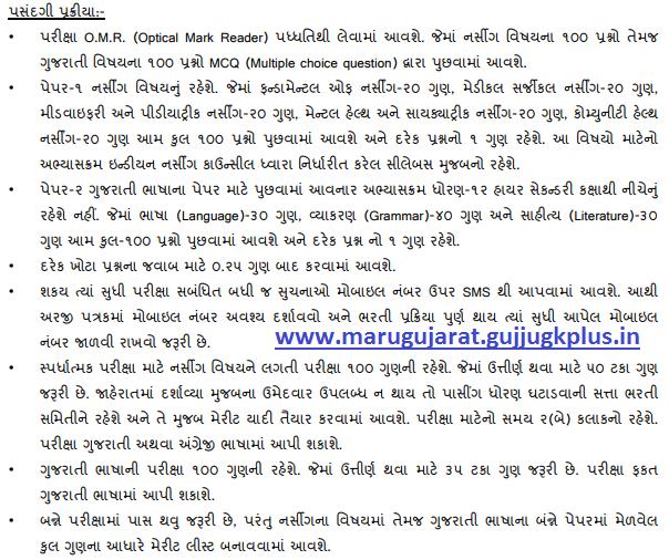 Gujarat Staff Nurse Class 3 Exam Syllabus